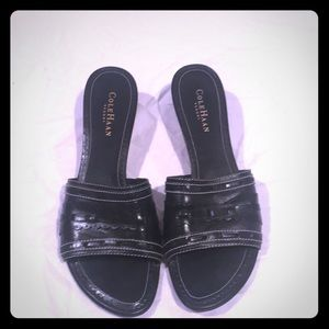 Black with White stitching sandals
